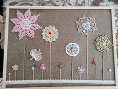 Doily flowers - love them! Crochet Doily Patterns, Crochet Doilies, Crochet Flowers, Crochet Projects, Sewing Projects, Craft Projects, Button Art, Button Crafts, Craft Stick Crafts