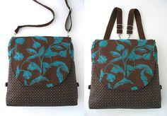 backpack purse converts to messenger, blue and brown tote bag, crossbody bag, shoulder handbag, everyday bag, ready to ship