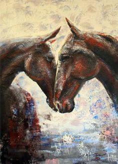 "Saatchi Art Artist Alla Dzevaltovska; Painting, ""Horses 30"" #art"