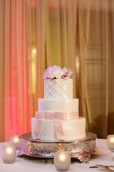 Pretty white and pink wedding cake