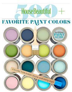 House Beautiful 500+ Favorite Paint Colors by Benjamin Moore Colors. Fabulous ideas here.
