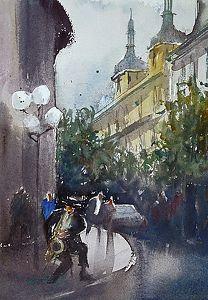 Prague, Czech Republic II by Keiko Tanabe Watercolor ~ 11 1/2 x 8 1/4 inches (29 x 21 cm)