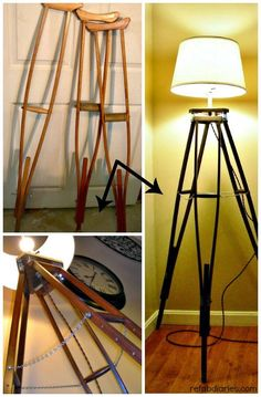 Upcycle: Old crutches, new lamp