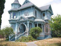 Blue Queen Anne Victorian House