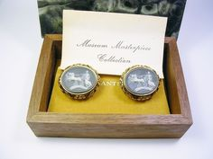 VINTAGE CUFFLINKS DANTE FAUX CAMEO INCOLAY STONE GREEK MYTHOLOGY HELIOS #Dante