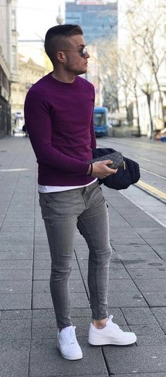e0ba6caf41 ... light Fall outfit inspiration with a purple sweater white t-shirt slim  cut gray denim sunglasses ...