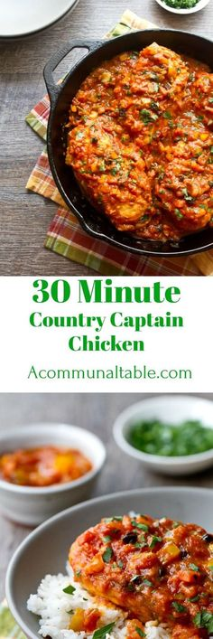 30 minute Country Captain Chicken is richly flavored southern classic. Bottled marinara sauce, curry and currants make this an easy weeknight meal!! #ChickenRecipes #easydinnerrecipes #easydinner