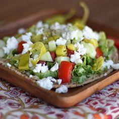 Greek Salad and Hummus Pita Pizza via @Aggie's Kitchen