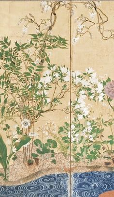 Detail. Flowers of Spring and Autumn. Artist unknown. After Ogata Kōrin. Rimpa School. One of a Pair of six-panel screens; color and gold on paper.