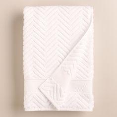 White Chevron Spa Bath Towel | World Market