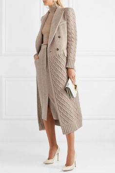 Max Mara - Alda Paneled Wool And Cashmere-blend Coat - Beige Beige and cream wool Concealed button, hook and zip fastening at front wool; lining: acetate, elastane Dry clean Made in Italy beatiful autumn look Max Mara is adored for it's sophisticated appr Knit Fashion, Trendy Fashion, Winter Fashion, Fashion Looks, Fashion Outfits, Trendy Style, Knit Cardigan, Knit Dress, Mein Style