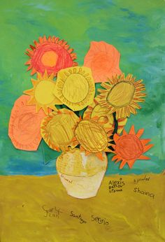 Sunflowes vase collage pop up collaborative learning Vincent Van Gogh, school art artist children