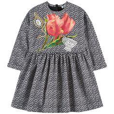 DOLCE & GABBANA Herringbone and pink tulipe-printed dress