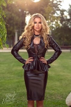 Leather look jacket and skirt Black Leather Pencil Skirt, Leather And Lace, Leather Peplum, Pretty Outfits, Cute Outfits, Nice Dresses, Short Dresses, Fetish Fashion, Leather Dresses