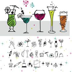 Happy Hour Doodles font - 30 retro cocktails, canapés and barware, plus 5 background graphics. Perfect for party invitations! By Outside the Line (their lettering fonts look awesome with these Doodles)! At Font Bros! http://www.fontbros.com/families/happy-hour-doodles/styles/regular
