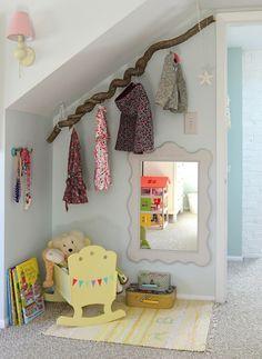 House of Turquoise: Kelly Serra Donovan - beautiful kids room in attic space House Of Turquoise, Kids Room Design, Nursery Design, Sloped Ceiling Bedroom, Casa Kids, Deco Kids, Branch Decor, Ideas Hogar, Little Girl Rooms