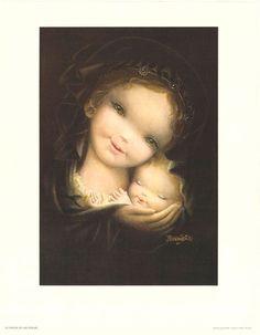 Natal com Juan Ferrandiz Castells - - Christmas with Juan Ferrandiz Castells ( 1918 - Mother Mary, Mother And Child, Vintage Christmas Cards, Vintage Cards, Verge, Kids Poems, Spanish Painters, Madonna And Child, Holy Family