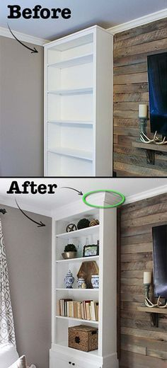 Turn a billy bookcase into built-ins and will have an upper class look.
