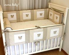 kit de berço 5 peças cara de urso patchwork em bege com marrom - Iroma Baby