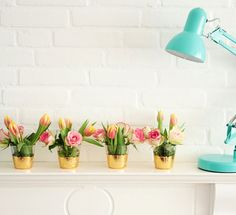 Make these gold leaf vases to hold your Easter blooms.