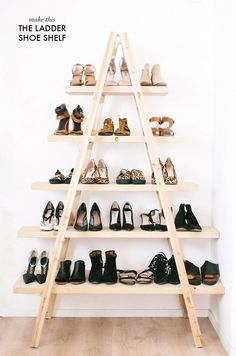 DIY Ladder Shoe Shelf - all you need is a ladder + some boards!