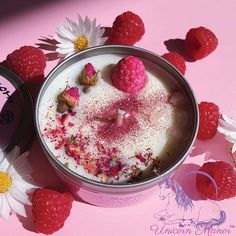 Discover our NEW Sweet Raspberry crystal candle • a delicate sweet raspberry candle infused with certified organic rose, rose quartz crumble and magic 🌹✨ sold exclusively at unicornmanor.com & daisysmilkbar.com 🔮🌸✨ #unicornmanor #mysticunicorncandles #raspberry #collab #collaboration #daisysmilkbar #rosequartz #crystal #crystals #crystalhealing #crystalcandle #crystalcandles #metaphysical #goodvibes #yum #cosmic #magic #new #comingsoon #crystallove #pink #red #raspberrys