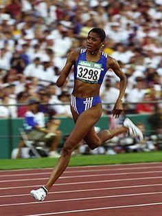 Marie-José Pérec running for France won the 200 and 400 metres at the 1996 Atlanta Olympics
