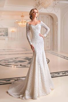 "Tatiana Kaplun ""Melaniya"" Gorgeous Embroidered Lace Sweetheart Trumpet Wedding Dress / Bridal Gown with Off Shoulder Illusion, Long Sleeves, a Cor. Wedding Dress Trends, Princess Wedding Dresses, Best Wedding Dresses, Bridal Dresses, Wedding Gowns, Lace Wedding, Wedding Dress Trumpet, Wedding Robe, Cinderella Wedding"
