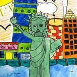 I found this Lady Liberty art project. This would be a great project when introducing the Statue of Liberty in a history class. Each student will draw Lady Liberty then think of their own background that symbolizes America. I thought this was a great project for a history lesson that also let the kids add their own touch when it came to the details.