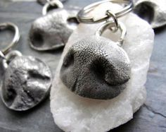 Dog Nose Necklace Personalized in Sterling Silver Large. Bet you have never seen this before!!! Do you love your dog more then family members....is your dog your best friend...this is the best gift for you or for any dog lover you know. This listing is for a larger dog nose necklace. ***Just Highlighted in Doggie Aficionado Magazine. We take a mold of your dogs nose print and cast it in solid sterling silver. A nose print is like a fingerprint..each one is unique and special. After casting…