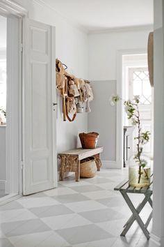 Hallway – Home Decor Designs Hall Flooring, Carpet Flooring, Entry Stairs, Entrance Hall, Hallway Inspiration, Interior Inspiration, Scandinavian Interior Design, Luxury Vinyl Tile, Painted Floors