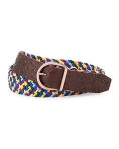 Robert Graham Woven Leather-Trim Belt, Brown/Multicolor