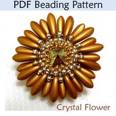 """Crystal Flower"" Pendant PDF Beading Pattern"