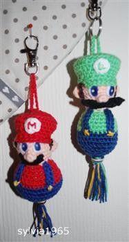 Voorbeeldkaart - Super Mario en Luigi sleutelhanger - Categorie: Haken - Hobbyjournaal uw hobby website