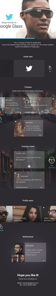 Twitter for Google Glass on Behance