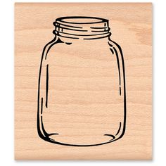 Mason Jar large Wood Mounted Rubber Stamp by MountainsideCrafts, $10.50