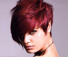 How risky could i dare be to get a cut like this? Bold red edgy short hair 2013 style