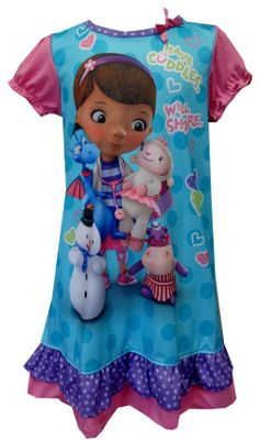 "Disney Doc McStuffins Have Cuddles Will Share Toddler Nightgown  The doctor is in! These flame resistant nightgowns for toddler girls features Dottie ""Doc"" McStuffins and her friends Stuffie, Hallie, Lambie and Chilly. Adorable bow detail and ruffle trim on the sleeves and hem add a touch of extra sweetness. $18"