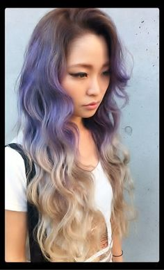 long curly two tone color purple blonde hairtsyle