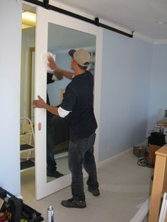 sliding barn door with mirror - Google Search