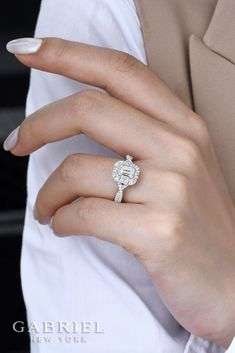 White Gold/ Rose Gold Emerald Cut Double Halo Engagement Ring