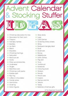 {The Organised Housewife} Advent Calendar and stocking stuffer ideas