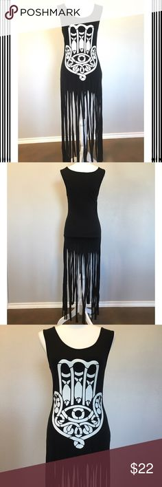 """NWT Hamas Fringe Dress - Sz S/M - Retail $45 NWT Hamas black fringe maxi dress/coverup. Like new condition. 100% cotton. measurements: 51"""" length including fringe, 28"""" body length, 26"""" bust. Size medium but will also fit a small. Retail $45. ✳️Also listed on other sites so will sell quickly✳️ ❌Trades❌PayPal❌ Dresses Maxi"""
