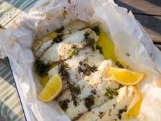 Get Fresh Farm Fish with Lemon Butter Sauce en Papillote Recipe from Cooking Channel Graham Recipe, Sarah Graham, Cooking Channel Shows, Safari, Herb Farm, Lemon Butter Sauce, Lemon Herb, Fresh Lemon Juice, Fresh Thyme