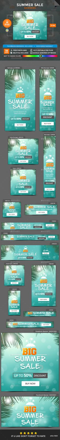 Summer Sale Banners - Images Included - Template PSD. Download here: https://graphicriver.net/item/summer-sale-banners-images-included/17104674?ref=ksioks