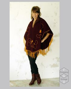 golden fringe wool cape coat oxblood poncho by FiregypsyVintage, $64.92