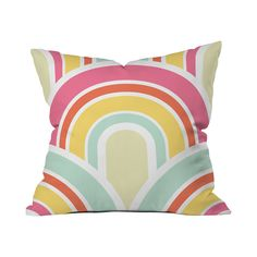 If the mod colors of the 1960s are your thing, look no further than this delightful Sherbet Rainbow Throw Pillow. Featuring bright hues in rainbow-like arcs, this throw pillow is a fun and festive addi...  Find the Sherbet Rainbow Throw Pillow, as seen in the #SoftSideofMidCentury Collection at http://dotandbo.com/collections/soft-side-of-mcm?utm_source=pinterest&utm_medium=organic&db_sku=111557