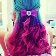 Turquoise, blue, purple, pink, dip dye, curls, bow