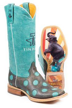 Tin Haul Holey Moley Ladies Blue Leather Elephant Cowboy Boots #TinHaul…
