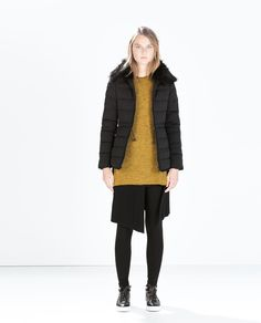 ZARA - NEW THIS WEEK - FITTED DOWN JACKET WITH FUR COLLAR